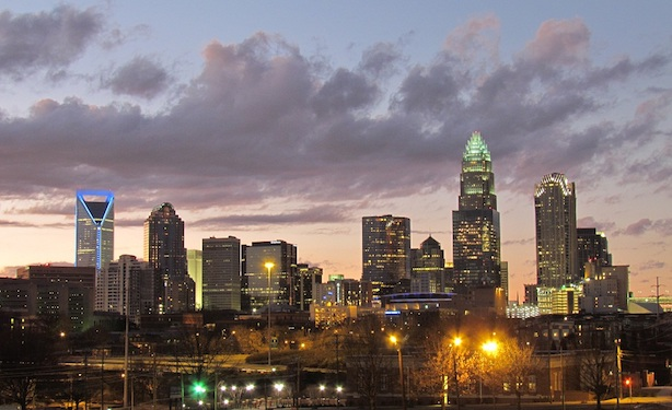 The skyline of Charlotte, North Carolina. (Image via Wikimedia Commons, by Riction - Own work, CC BY-SA 3.0, https://commons.wikimedia.org/w/index.php?curid=12647939)