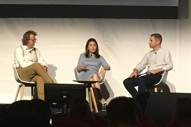 Huawei's Glory Zhang with Simon Shaw of H+K (left) and Jeff Beer of Fast Company
