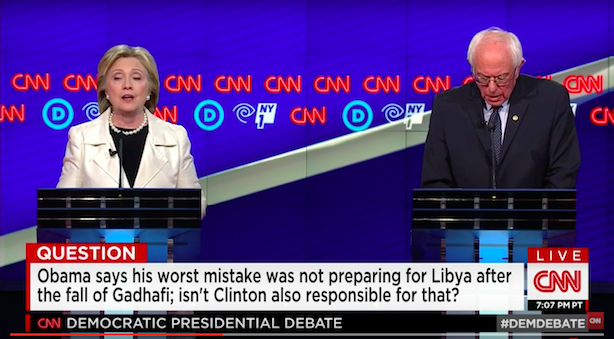 Hillary Clinton and Bernie Sanders at Thursday night's Democratic debate in Brooklyn, N.Y. (Image via CNN's YouTube page).