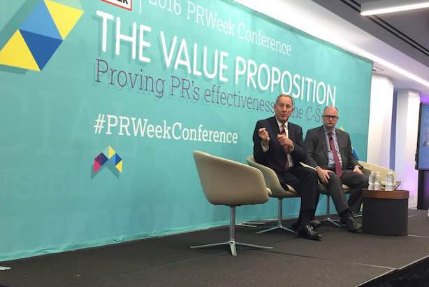 The Cleveland Clinic's Toby Cosgrove and PRWeek editor-in-chief Steve Barrett at the PRWeek Conference in New York. (Photo credit: Alison Kanski).