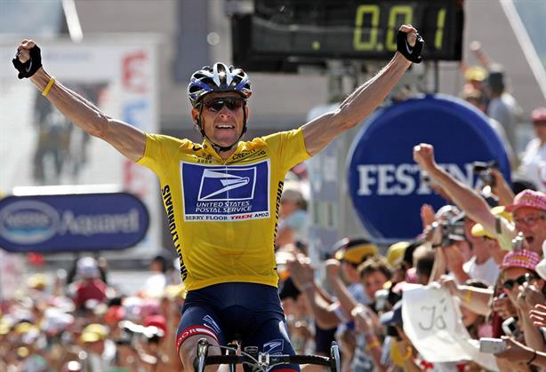 On his bike: Disgraced cyclist Lance Armstrong was stripped of his Tour de France titles for doping. Credit: PATRICK KOVARIK/AFP/GETTY IMAGES