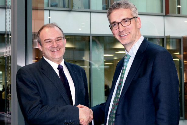 Joining the MHP team: Ed Davey (left) with MHP boss Gavin Devine
