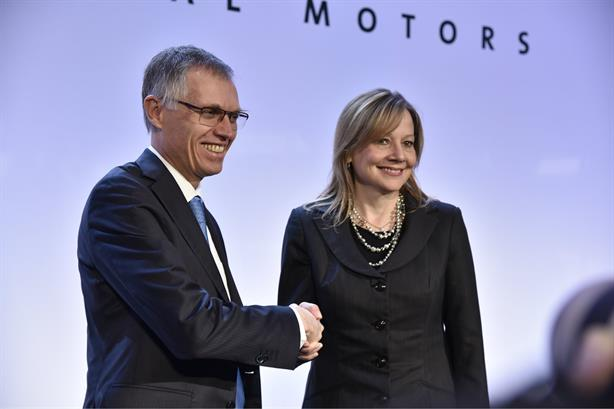 Deal: PSA chair Carlos Tavares and GM chairman and CEO Mary Barra at a press conference on Monday