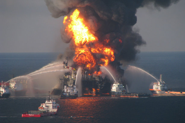 Deepwater Horizon: Fire boats douse the rig flames the day after the April 2010 spill, which caused 11 worker deaths (Credit: EPI2oh via Flickr)