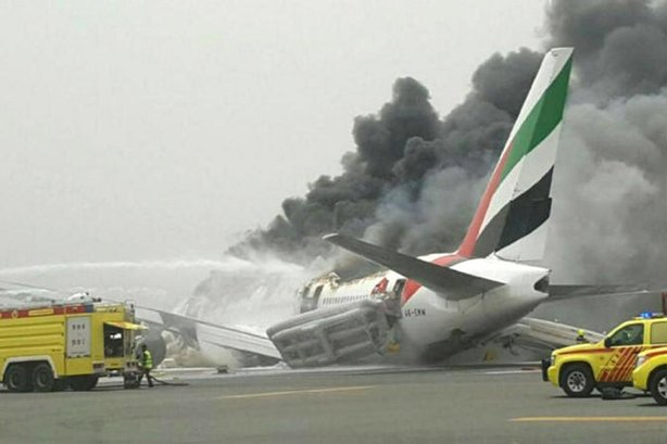 Emirates: Flight EK521 crash landed at Dubai airport yesterday, resulting in the death of a firefighter