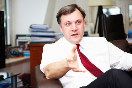 Ed Balls: red-faced shadow chancellor