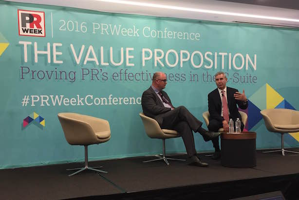 L-R: PRWeek editor-in-chief Steve Barrett and Richard Edelman. (Photo credit: Alison Kanski).