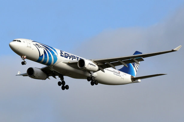 An Egyptair plane above France in 2014 (Credit: ERIC SALARD via Flickr)