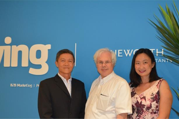 Peter Finn pictured with the founders of Ying PR, Allan and Yin Ching