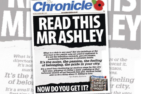 Newcastle United: Banning local press (credit: The Chronicle)