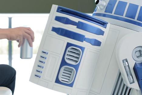 Aqua's moving replica R2-D2 refrigerator