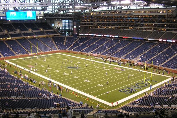 Ford Field, home of the NFL's Detroit Lions. (Image via Wikimedia Commons, CC BY 2.5).