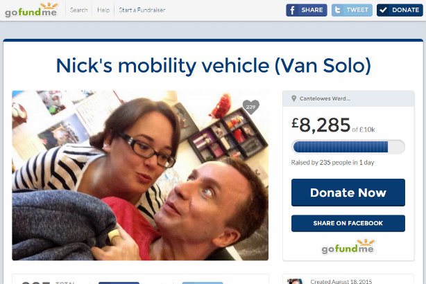 Crowdfunding: The former PR man's £10,000 target was within reach as this story went live