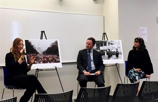 Left to right: Bob Bland, national co-chair of the Women's March; Alan Sexton, chair of the U.S. corporate practice at Burson-Marsteller; and Isabel González Whitaker, deputy editor at Billboard Magazine.