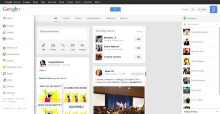 A Google+ screenshot, circa May 2013