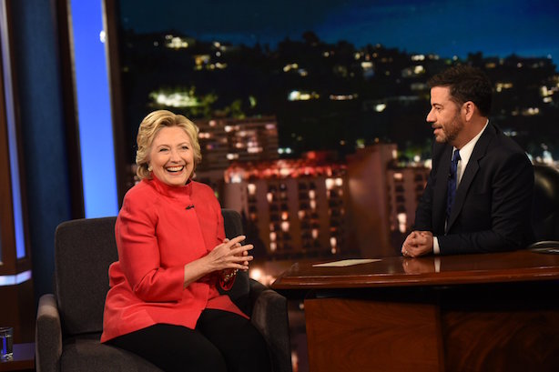 Hillary Clinton on Jimmy Kimmel Live! on Monday night (Image via the show's Twitter account).