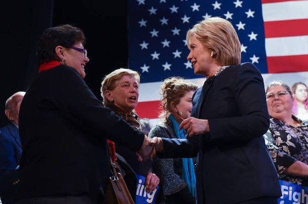 Hillary Clinton campaigns in New Hampshire. (Image via the Clinton campaign's Facebook page).