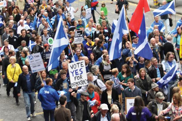 Picture from a pro-Independence march in 2014. Will Scotland decide again?