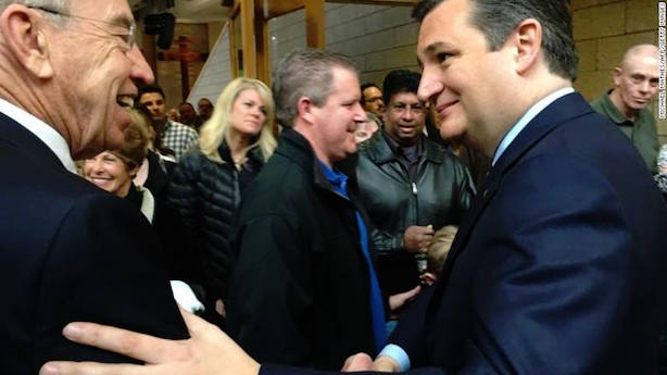 Ted Cruz meets with caucus-goers in Iowa. (Image via the CNN Politics Facebook page).
