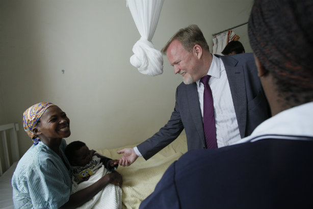 Astellas Pharma CEO Ken Jones meets a fistula survivor as part of the company's Action on Fistula programme in cooperation with the Fistula Foundation