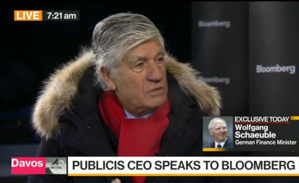 Screenshot: Lévy spoke about Publicis Groupe's future on Bloomberg from Davos
