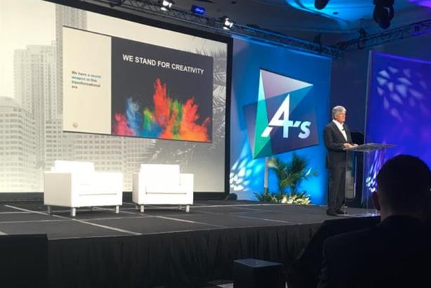 Publicis CEO Maurice Levy speaking at the 4A's Conference in Miami this month.