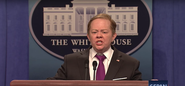 Melissa McCarthy reprised her role as White House Press Secretary Sean Spicer this weekend. (Screenshot via SNL's YouTube account).