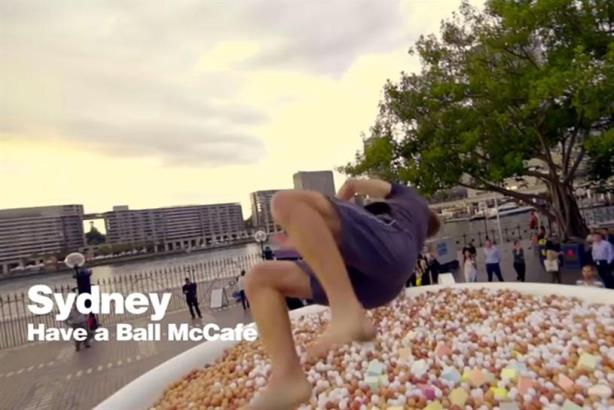 The campaign included a giant ball pit shaped like a coffee cup in Sydney.