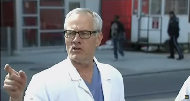 Temple University Hospital chief medical officer Dr. Herb Cushing briefs the press (Image via YouTube)