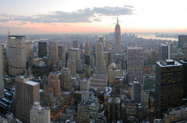 """""""NYC wideangle south from Top of the Rock"""" by Daniel Schwen - Own work. Licensed under CC BY-SA 2.5 via Wikimedia Commons."""