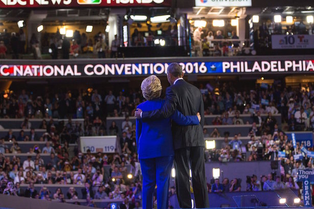 Obama and Clinton embrace after his speech to the Democratic National Convention in Philadelphia. (Image via the convention's Twitter account).
