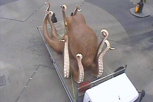 Stuck in Oxford Circus: The octopus was due to be part of a Betfair stunt  (Credit: TfL)
