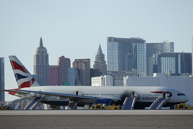 BA's stricken plane on the ground at Las Vegas airport (Credit: John Locher/AP/PA Images)