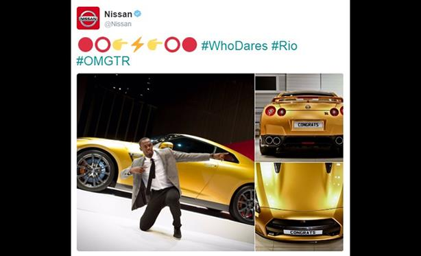 Nissan says its sponsorship of the Olympics has raised market share in Brazil