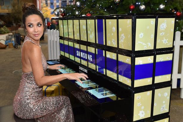 Myleene Klass: Played on the piano in Spitalfields Market