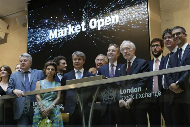 SEC at the London Stock Exchange this morning (Tagliabue in red tie)