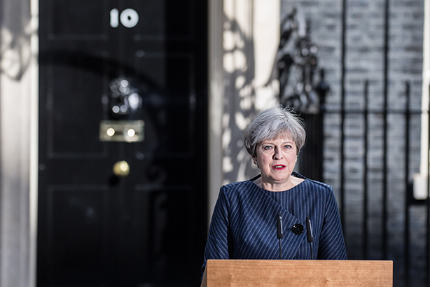 May, pictured yesterday announcing her intention to fight an election, has said no to TV debates (Credit: James Gourley/REX/Shutterstock)
