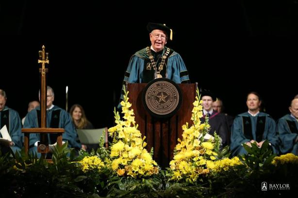 Starr at Baylor University's most recent commencement. (Image via Baylor's Facebook page).
