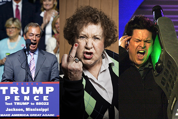 (Credits: Farage - AP Photo/Gerald Herbert, Swearing woman - Image Source/Alamy Stock Photo, Dom Joly - PA Archive/PA Images)