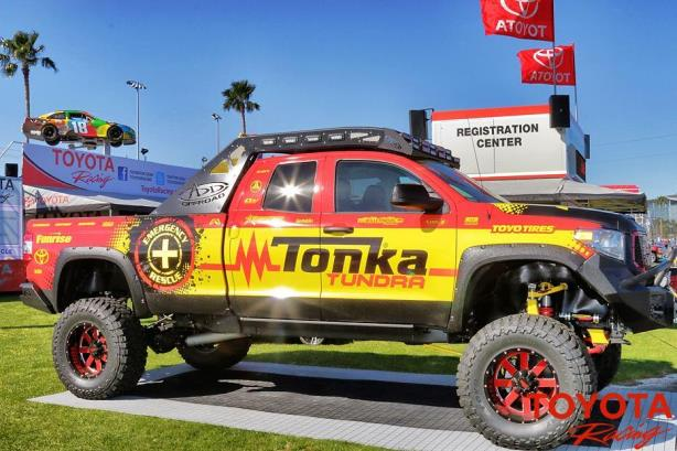 The Tonka Tundra's debut at the Daytona 500. (Image via Twitter).