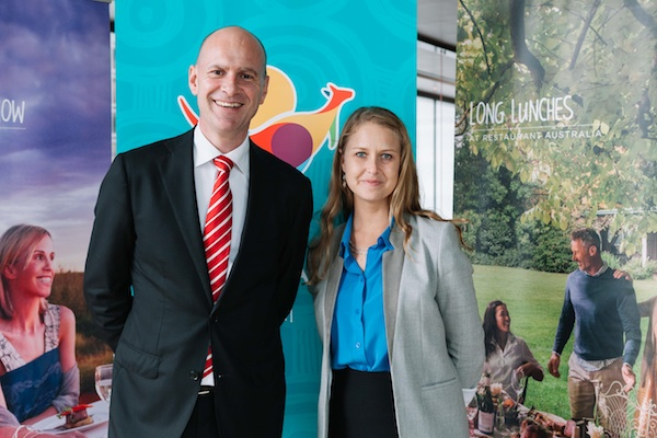 Tourism Australia's regional general manager for Greater China, Andrew Hogg, with Sinclair Communications managing director, Kiri Sinclair