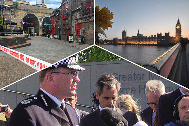 New guidelines set out how the police will work with the media during major incidents, such as Borough Market (above left) Westminster Bridge (above right) and Manchester (below) (Pic credits: Andy Hampson/Victoria Jones/PA Wire/PA Images and @Nahlah