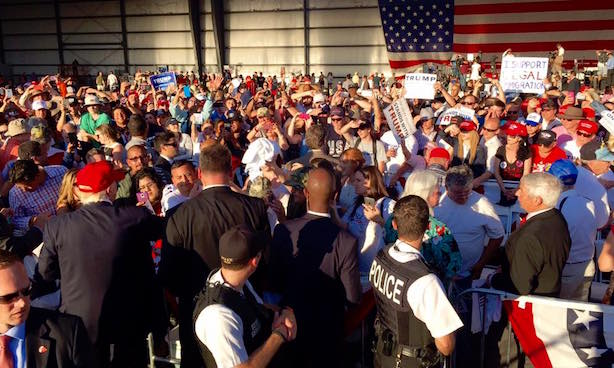 The scene at a recent Trump rally in Sacramento, California. (Image via the Trump campaign's Facebook page).