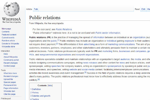 "PR: ""the practice of managing the spread of information"" (according to Wikipedia)"