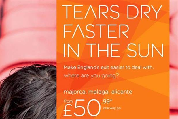 EasyJet plays on England woes with ads for European flights