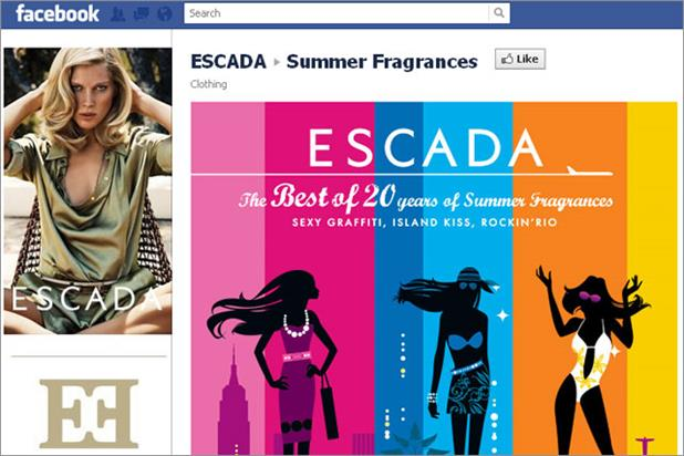 Escada: Facebook campaign promotes re-release of fragrances from the 1990s