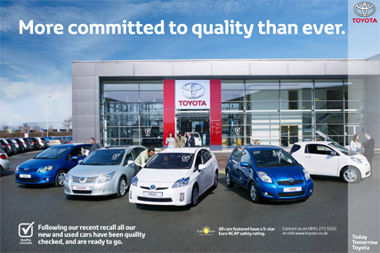 Toyota: print ad following a previous recall in 2010