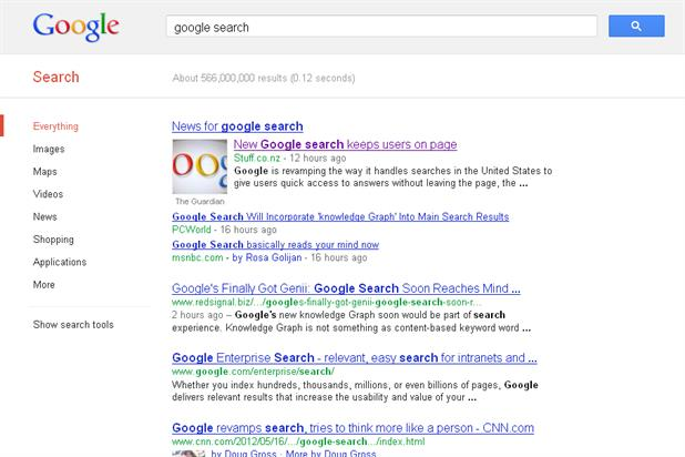 Google: changing search engine, to include factual information about search topics