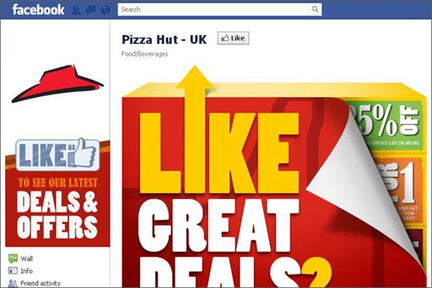 Pizza Hut: includes deals on its UK Facebook page