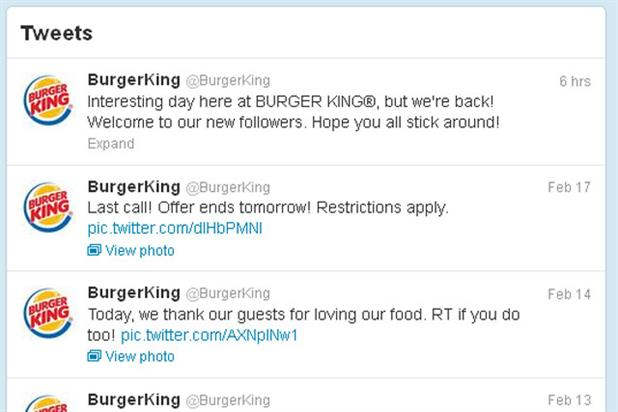 Burger King: regains control of its Twitter account